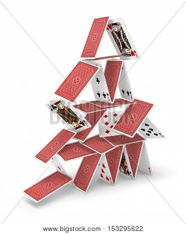 House of cards tower 3D collapsing isolated on white