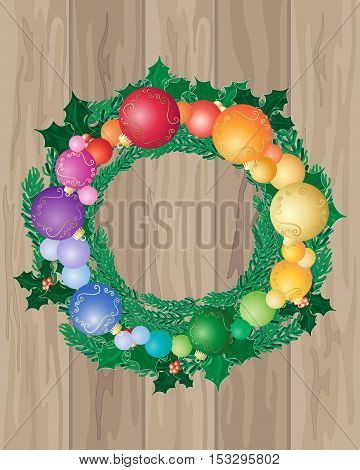an illustration of wooden floor boards with a festive christmas wreath decorated with colorful baubles and holly