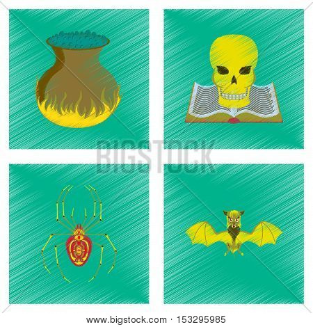 assembly flat shading style icon of halloween danger spider book skull cauldron bat