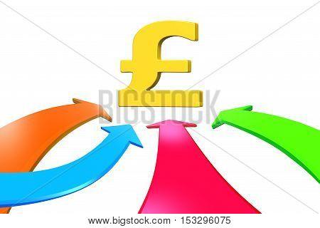 Four Color Arrows Go Toward Pound Sign, 3D Rendering