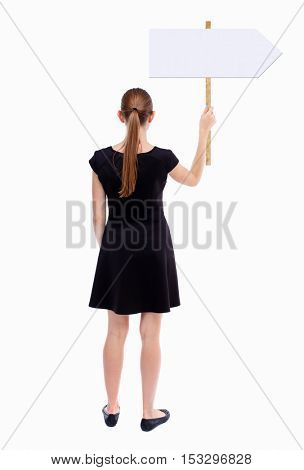 Back view woman showing sign board. man holds information plate. Rear view people collection. backside view of person. Isolated over white background. Girl in black holding a pointer.