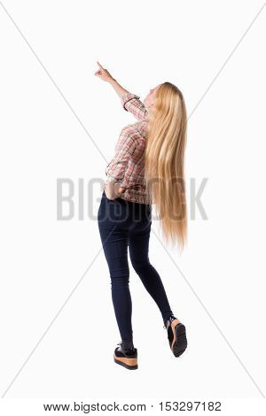 Back view of  pointing woman. beautiful girl. Rear view people collection.  backside view of person.  Isolated over white background. Girl with very long hair I saw something at the top.