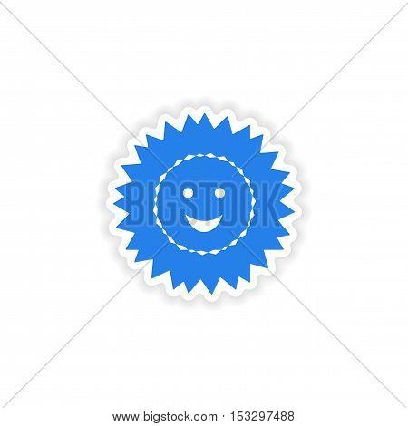 icon sticker realistic design on paper sun