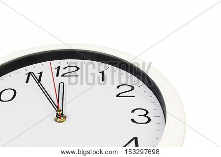 part of the dial white analogue clock on a white background isolated
