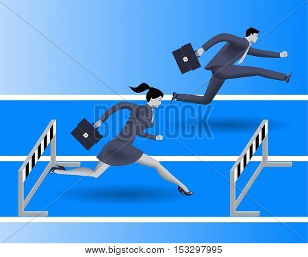 Gender inequality on career path business concept Business lady runs against businessman on career path but fails because on her side of path there are a lot of obstacles. Gender differences.