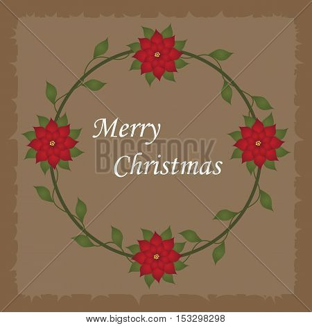 Beautiful Christmas decorative frame with Christmas flowers in a circle on a light brown background. Pattern to decorate greeting cards. vector illustration
