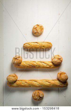Christmas tree made of baguette and bread roll