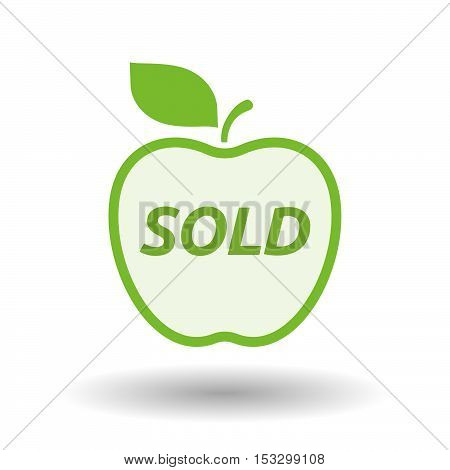 Isolated Line Art Fresh Apple Fruit Icon With    The Text Sold