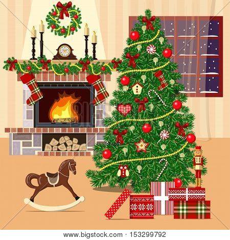 Christmas decorated room with xmas tree, fireplace and window. Flat style vector illustration. comfortable room with xmas tree, gift boxes, rocking-horse, wreath, candles, presents, pictures, curtains