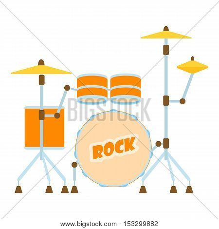 Drum icon. Flat illustration of drum vector icon for web