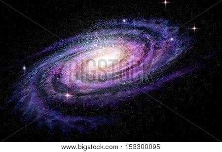 Spiral Galaxy in deep spcae 3D illustration
