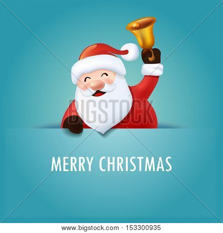 Santa Claus with bell. Vector