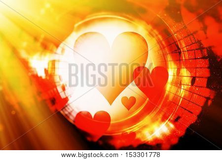 heart shape in the color space, abstract graphic collage background