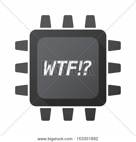 Isolated Central Processing Unit Icon With    The Text Wtf!?