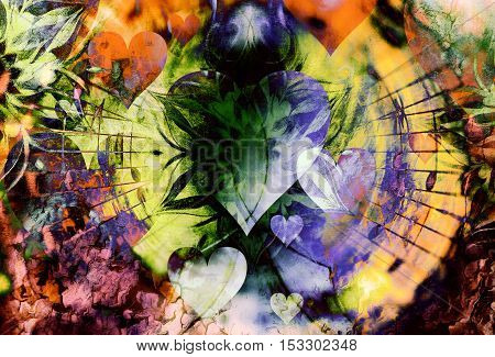 abstract collage with heart spreading out music notes, symbolizing the love to music, abstract ornamental collage