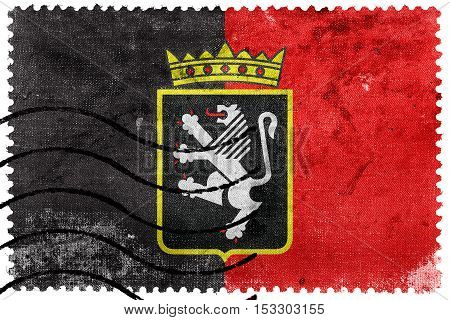 Flag Of Aosta Valley With Coat Of Arms, Italy, Old Postage Stamp