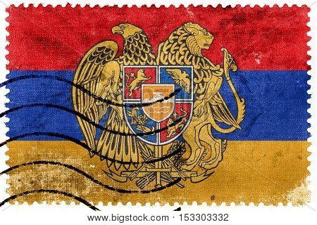 Flag Of Armenia With Coat Of Arms, Old Postage Stamp