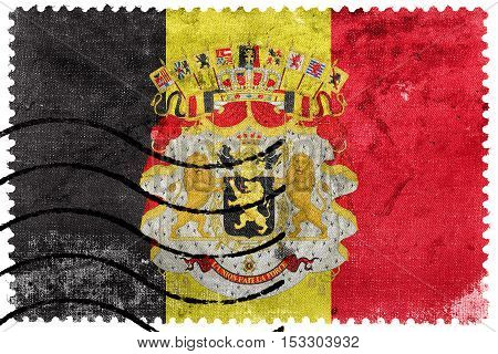 Flag Of Belgium With Coat Of Arms, Old Postage Stamp