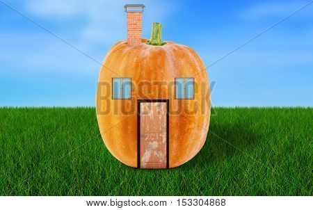 House of pumpkin on green grass on background with blue sky
