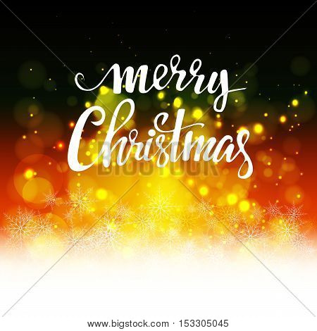 Bright background with bokeh with the words merry Christmas cover Design background
