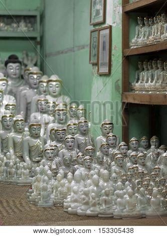 Selling buddha statues at Mahamuni Buddha Temple,mandalay, myanmar