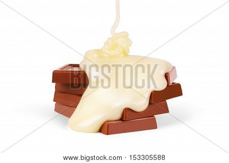 sweet milk sauce is poured on a chocolate bar