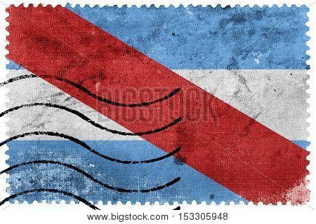 Flag Of Entre Rios Province, Argentina, Old Postage Stamp
