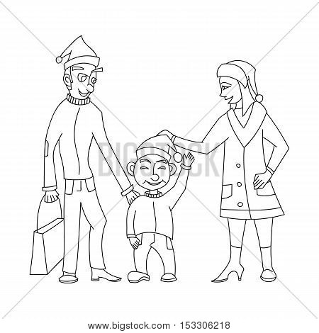 Cute and happy family in santa hat, the father with a package of gifts, smiling son happy mother in the style of cartoon and outline style isolated on white background