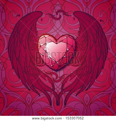 Detailed realistic drawing of a ruby gemstone surrounded with heart shaped wings. St. Valentine's day greeting card, astrology article, business card or corporate design. EPS10 vector illustration