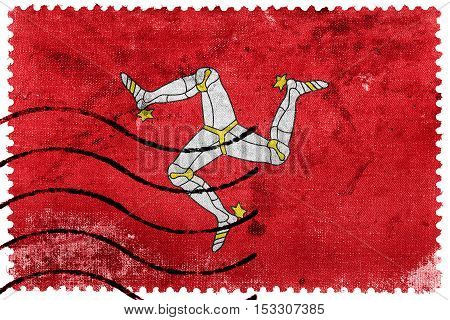 Flag Of Isle Of Man, Old Postage Stamp