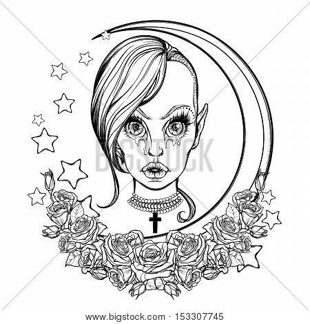 Young sexy teenaged girl with kawaii weeping eyes, sensual lips and trandy haircut. Gothic Halloween concept art. Frame of stars roses and moon. Tattoo design. EPS10 isolated vector illustration.