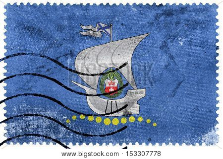 Flag Of Kaliningrad, Russia, Old Postage Stamp