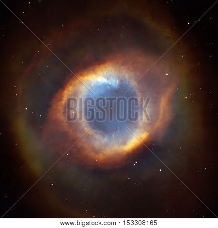 The Helix Nebula or NGC 7293. It is one of the nearest planetary nebulae to Earth, only 650 light years away. Located in the constellation Aquarius. Elements of this image furnished by NASA.