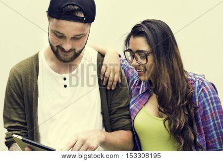 Friend Using Browsing Tablet Concept