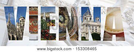 Assorted images of Vienna Austria in collage style