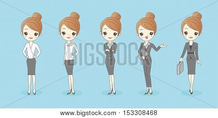 cartoon businesswoman wear different clothes great for your design