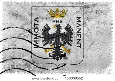 Flag Of L'aquila With Coat Of Arms, Italy, Old Postage Stamp