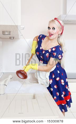 Miss do it yourself fixing clogged sink, similar available in my portfolio