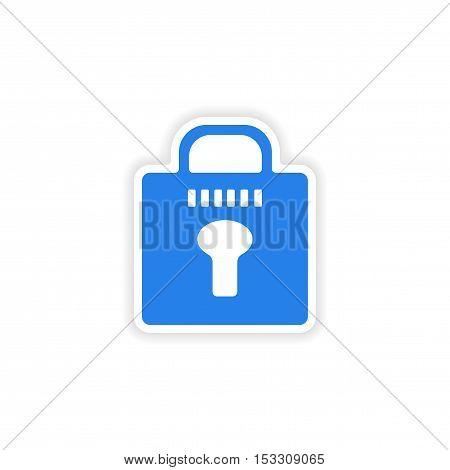 icon sticker realistic design on paper lock