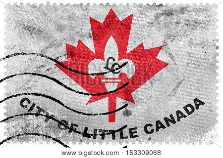 Flag Of Little Canada, Minnesota, Usa, Old Postage Stamp