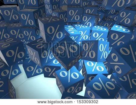 Percentage signs on cubes - 3d rendering