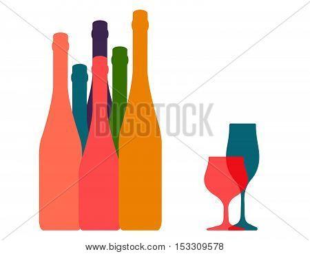 Background Bottle Ilustration.Alcoholic Bar Menu.Design for Party.Template for Menu Card.Wine List Placard.Suitable for Poster.Card Cocktail Invation.Bottle of Wine Vector.