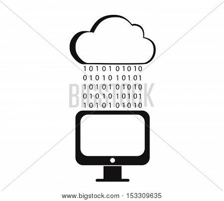 Digital rain cloud.Save data from a PC.Vector computing concept.Matrix Stream Illustration.