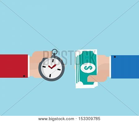 hand use money for purchase time time is money concept vector illustration