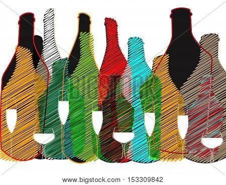 .Alcoholic Bottles Background.Wine List Design.Cocktail Party Vector.Bar Menu Ilustration.Suitable for Poster.Invitation Card with Glasses.liquor list art.