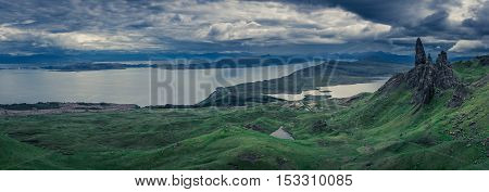 Big Panorama Of Old Man Of Storr In Isle Of Skye, Scotland