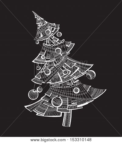 White tree on black background.Christmas tree in style zentagl. Tree. Nature. Vector. Coloring. Anti-stress. Abstract tree. Stylized tree. Winter. Celebration. New Year. tree decoration