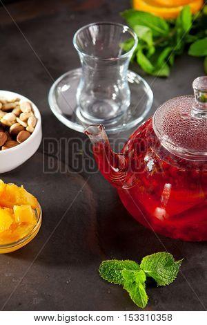 Wild Berry Tea with Fruit Slice, Mint and Honey