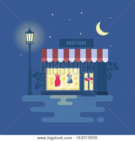 Vector illustration of boutique. Store building with a showcase. clothing shop. Night city, street light, starry sky. Trend modern flat pseudo volume style.