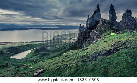 Campsite In Old Man Of Storr In Scotland, Isle Of Skye